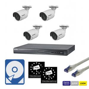 HIKVision IP Überwachungsset 4x DS-2CD2023G0-I(4.0mm) 2MP mit 4-Kanal NVR Rekorder, CAT6A Kabel, Festplatte und Aufkleber