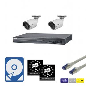 HIKVision IP Überwachungsset 2x DS-2CD2085FWD-I(4mm) IP-Kamera 8MP mit 4-Kanal NVR Rekorder, CAT6A Kabel, Festplatte und Aufkleber