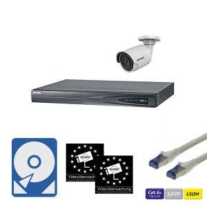 HIKVision IP Überwachungsset 1x DS-2CD2085FWD-I(2.8mm) IP-Kamera 8MP mit 4-Kanal NVR Rekorder, CAT6A Kabel, Festplatte und Aufkleber
