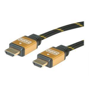Roline Gold - HDMI mit Ethernetkabel - HDMI (M) bis HDMI (M) - 7.5 m - Doppelisolierung - Schwarz, Gold