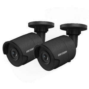 HIKVision KAMERA-SET mit  2x  DS-2CD2045FWD-I(2.8mm)(Black) IP Bullet Kamera 4 MP Full HD Outdoor