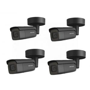 HIKVision KAMERA-SET mit 4x DS-2CD2645FWD-IZS(BLACK)(2.8-12mm) IP Bullet Kamera 4 MP Full HD Outdoor