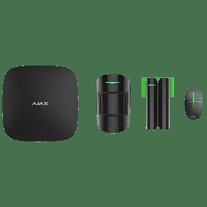 Ajax Funk-Alarmanlagen Set  - Zentrale, Bewegungsmelder, Öffnungs-Melder & Funkfernbedienung in Farbe schwarz