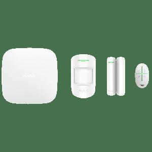 Ajax Alarmanlagen Set- Zentrale, Bewegungsmelder, Öffnungs-Melder & Funkfernbedienung in Farbe weiß