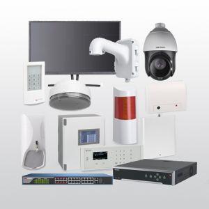 Telenot Funkalarmanlage Komplettset professional mit Außenbereich Videoüberwachung Set 15 inkl. HIKVision Set mit 6 Kameras, 1 Switch, 1 NVR und 1 Monitor