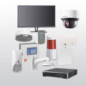 Telenot Funkalarmanlage Komplettset professional mit Außenbereich Videoüberwachung Set 3 inkl. HIKVision Set mit 6 Kameras, 1 NVR und 1 Monitor