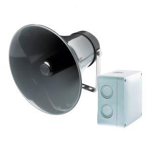 videofied FLS180-OUT Außen-Druckkammerlautsprecher mit Verstärkerbox für W und XT-Zentrale, HSL