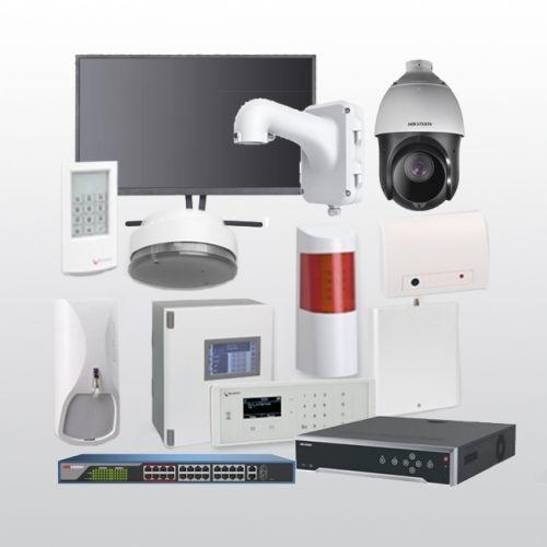 Telenot Funkalarmanlage Komplettset professional mit Außenbereich Videoüberwachung Set 12 inkl. HIKVision Set mit 6 Kameras, 1 Switch, 1 NVR und 1 Monitor