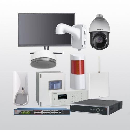 Telenot Funkalarmanlage Komplettset professional mit Außenbereich Videoüberwachung Set 13 inkl. HIKVision Set mit 6 Kameras, 1 Switch, 1 NVR und 1 Monitor