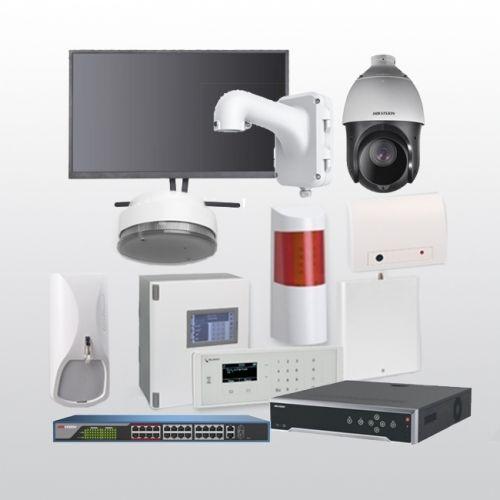Telenot Funkalarmanlage Komplettset professional mit Außenbereich Videoüberwachung Set 14 inkl. HIKVision Set mit 6 Kameras, 1 Switch, 1 NVR und 1 Monitor