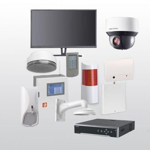 Telenot Funkalarmanlage Komplettset professional mit Außenbereich Videoüberwachung Set 3 inkl. HIKVision Set mit 4 Kameras, 1 NVR und 1 Monitor