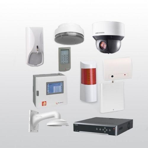 Telenot Funkalarmanlage Komplettset professional mit Außenbereich Videoüberwachung Set 3 inkl. HIKVision Set mit 4 Kameras und 1 NVR