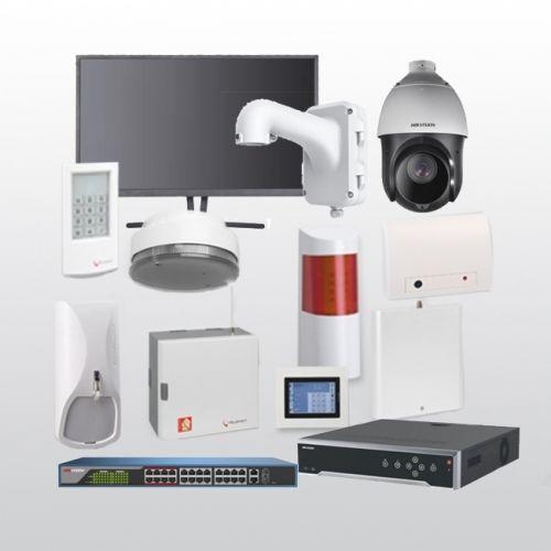 Telenot Funkalarmanlage Komplettset professional mit Außenbereich Videoüberwachung Set 6 inkl. HIKVision Set mit 6 Kameras, 1 Switch, 1 NVR und 1 Monitor